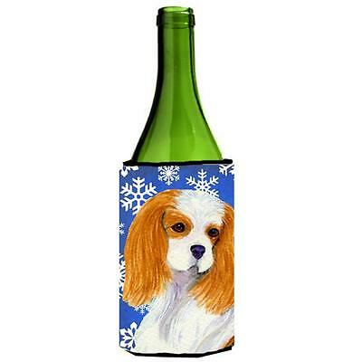 Cavalier Spaniel Winter Snowflakes Holiday Wine bottle sleeve Hugger 24 oz.