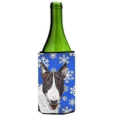 Bull Terrier Blue Snowflake Winter Wine bottle sleeve Hugger 24 oz.