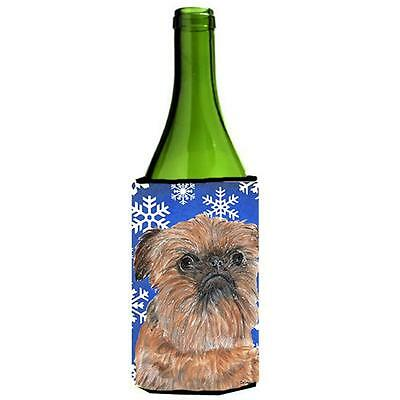 Brussels Griffon Blue Snowflake Winter Wine bottle sleeve Hugger 24 oz.