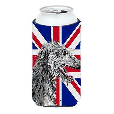 Scottish Deerhound With English Union Jack British Flag Tall Boy bottle sleev...