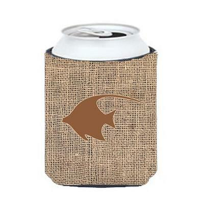 Carolines Treasures Angel Fish Burlap And Brown Can Or Bottle Hugger
