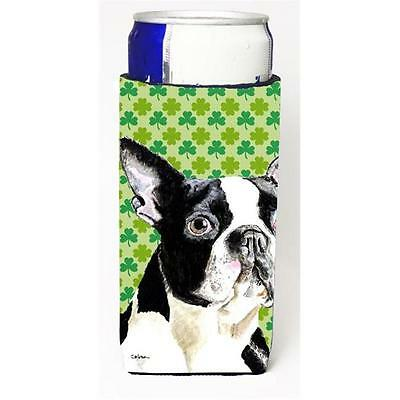 Boston Terrier St. Patricks Day Shamrock Portrait Michelob Ultra bottle sleev...