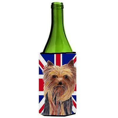 Yorkie With English Union Jack British Flag Wine bottle sleeve Hugger 24 Oz.