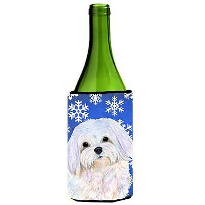 Carolines Treasures Maltese Winter Snowflakes Holiday Wine bottle sleeve Hugger