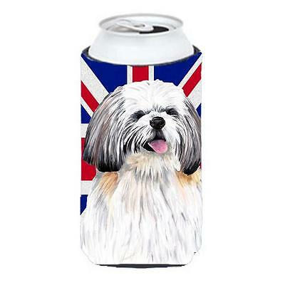 Shih Tzu With English Union Jack British Flag Tall Boy bottle sleeve Hugger 2...