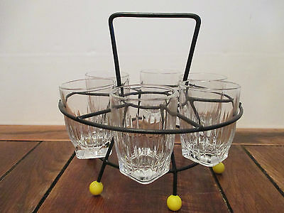 Set Of Six Vintage Retro Shot Glasses In Stand Carrier
