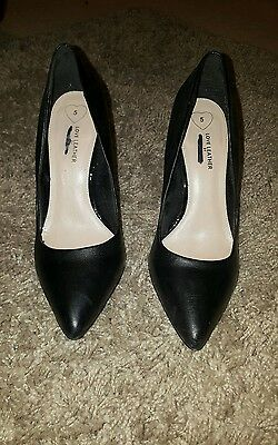 womens black court shoes high heels real leather dorothy perkins size 5