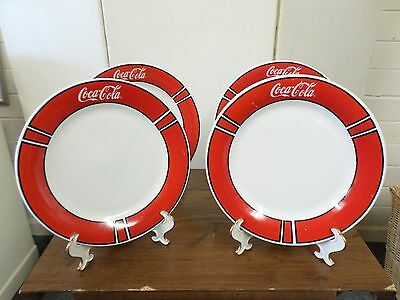 """Pre-owned Set of 4 Coca-Cola 10"""" Dinner Plates w/Salt & Pepper Shakers"""