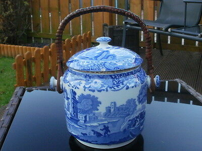 Vintage Copeland Spode's Italian - Blue & White Biscuit Barrel - Willow Pattern