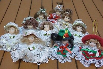 """Lot of 10 2"""" Mini Porcelain Dolls Mixed Lacey Birthstone Christmas"""