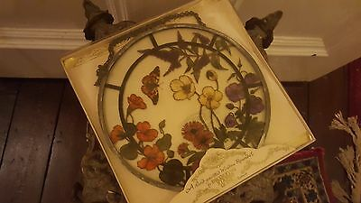 Vintage Handpainted Round Stained Glass Window Suncatcher Butterfly Flowers