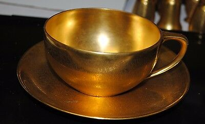 Vtg. PICKARD Glass China  Gold TEA CUP AND SAUCER