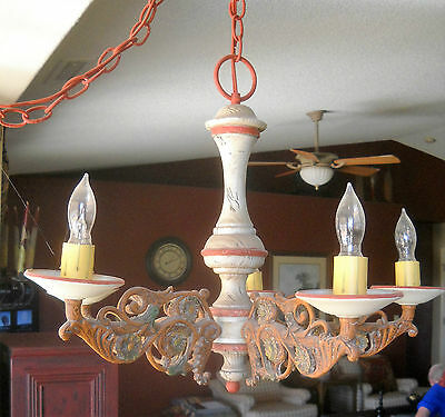 Vtg. Chandelier. Wrought  Iron & Wood,  Country Style.  5 Lights.  EUC