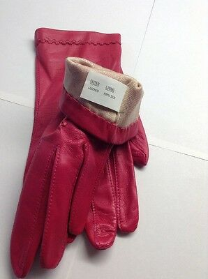 Soft Leather Gloves Silk Lined pink Size 7