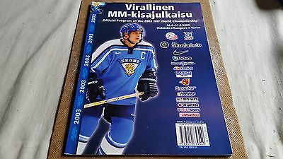 General Programme Ice hockey World Championships 2003 in Finland