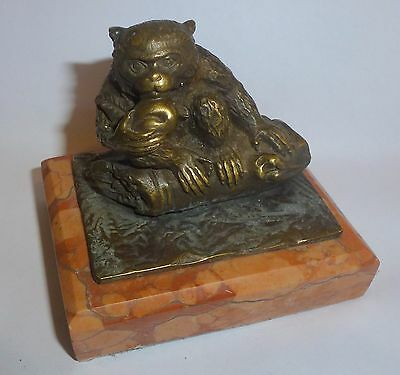 Austrian Bronze Paperweight Small Monkey Study on Marble Base Urn Mark C20th