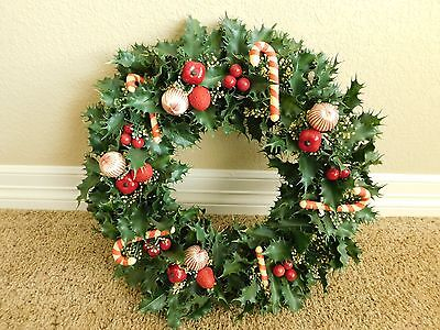"""Vintage Christmas Wreath Plastic Holly & Candy Canes 17"""""""