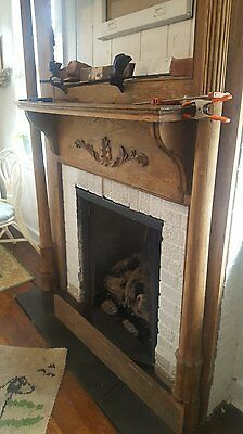"Antique Fireplace Mantle. Barley Twist Columns. Carved Panels.Oak. 72"" x 55""W."