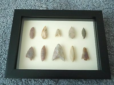 Neolithic Arrowheads in 3D Picture Frame, Authentic Artifacts 4000BC (0428)