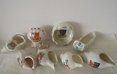 X8 Crested China Shell Spill Holder Winchester Whelk Listen to the Sea W.S.M etc