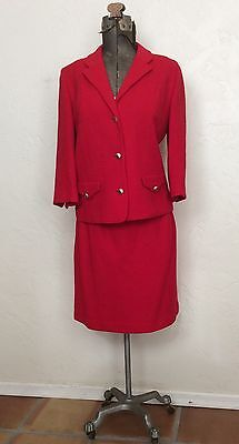 VINTAGE 1960'S Butte Cherry Red WOOL KNIT DRESS SUIT M