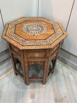 vintage ,antique octagonal mother of pearl ,occasional table ,mahogany