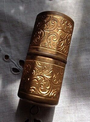 Antique Victorian Pocket Travel Sewing Kit Case Gold Thread Thimble Germany