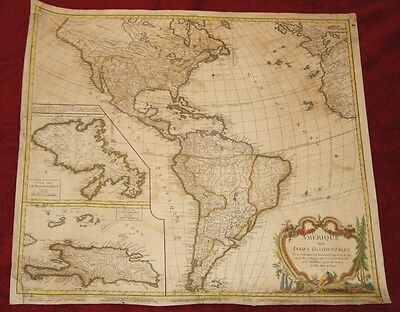 Amazing Hand Colored Antique Map of the Americas from 1771