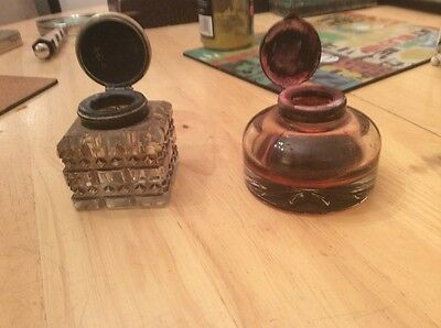 two old glass ink pots