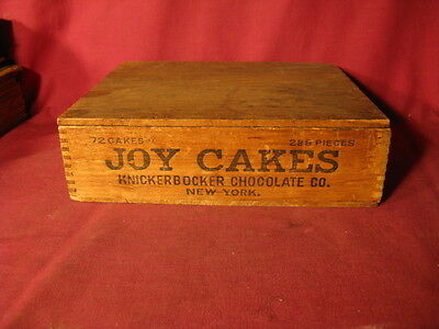Antique Wooden Advertising Box For JOY CAKES Knickerbocker Chocolate Co