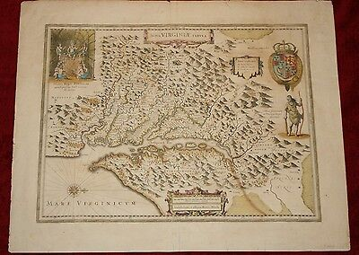 Beautiful Very Early Hand Colored Map of Virginia & The Chesapeake Bay