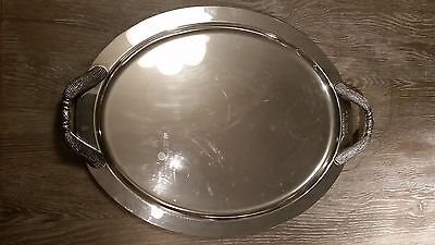 Large VINTAGE Style Oval SILVER PLATED 2 Handled Butler / Drinks TRAY