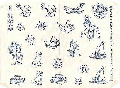 Vintage  Embroidery  Transfer  - Sheet Of Mixed  Motifs