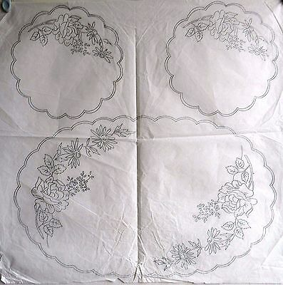 Vintage Silver Embroidery Transfer    Roses & Daisies 1 Large 2 Smaller Mats
