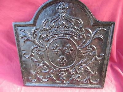 A Rare Mid 19Th C . Antique Made In France Cast Iron Very Decorative Fire Back