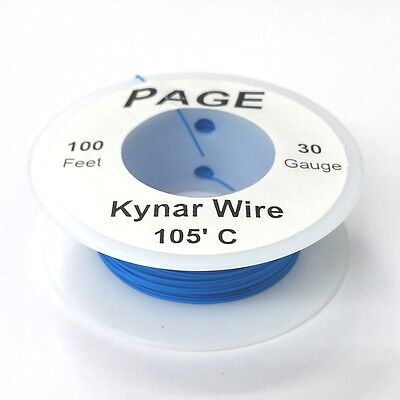 100' Page 30AWG BLUE KYNAR Insulated Wire Wrap Wire 100 Foot Roll ~ Made In USA