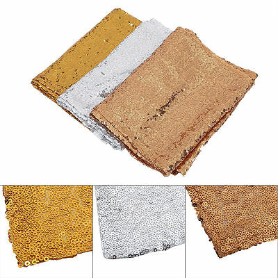 "Gold/Silver Glitter Sequin Table Runner 12""x108"" Sparkly Wedding Party Decor UK"