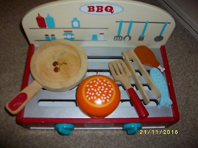 Wooden Toy Barbecue with Food and Accessories