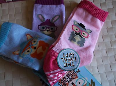 Brand New 3 Pack Blue Lilac Pink Girls Woodland Friends Socks  Uk Size 9-12