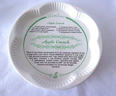 """Vintage Baking Dish With Recipe For Apple Crunch Pie Inside Base Of Dish - 10.5"""""""