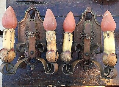 Antique Lincoln 904 Candle Light Wall Sconces Pair