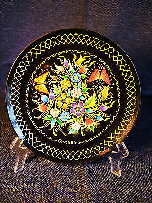 Vintage Handmade Painted & Lacquered Carved Wood Souvenir Plate Costa Rica EUC