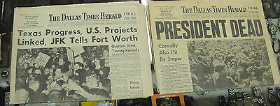 Dallas Times Herald JFK Assassination Final Edition Newspaper Before & After