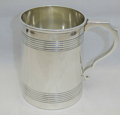 Antique Solid Silver One Pint Tankard London 1910 Heavy 409 grs (400-9-OGN)