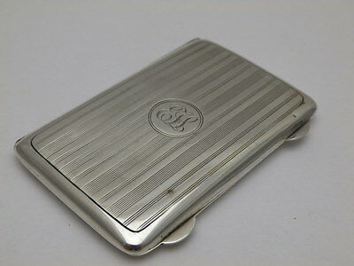Antique Solid Silver Engine Turned Card Case B'Ham 1915 (499-2-SSY)