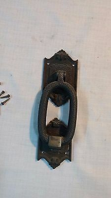 Vintage Heavy Solid Brass  Door Knocker W/ Strike Plate