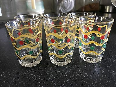 Set of 6 Vintage 60's Beautiful  'Shot-sized'  Hand Panted Decorated Glasses