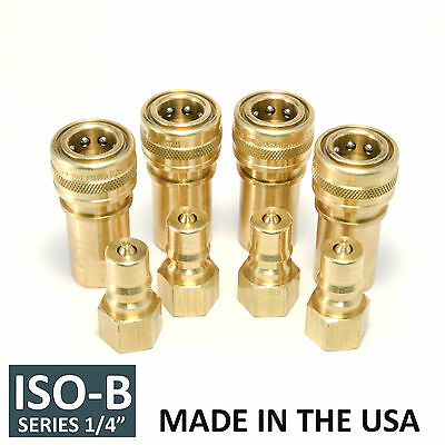 "4 Sets 1/4"" ISO-B Hydraulic Hose Quick Disconnect Couplers Plug - (ISO 7241-1 B)"