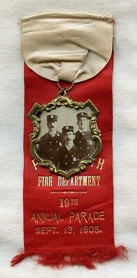 1905 Portsmouth, NH Fire Dept. Annual Parade Ribbon with Group Photo Medallion