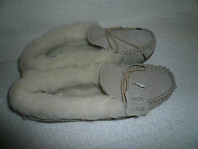 Womens Moccasin Slippers Size 8Uk 41Eu Beige Real Suede Wool Lined By Coolers